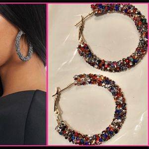NEW! Multi-color glitter statement hoops